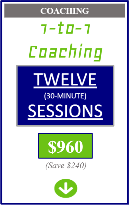 One on one coaching twelve thirty minute sessions