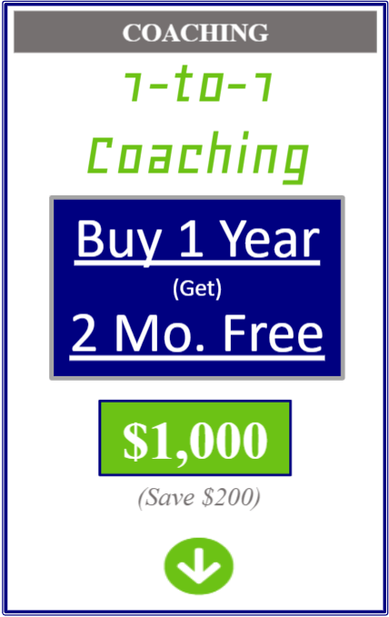 one on one coaching buy one year get two months free